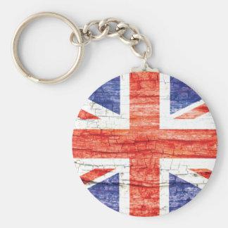 Vintage Wood Union Jack British(UK) Flag Key Chain