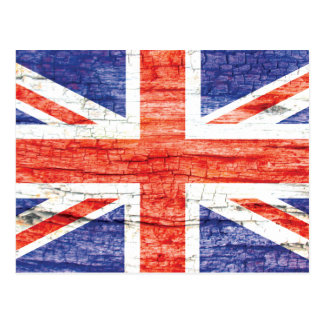 Vintage Wood Union Jack British(UK) Flag Postcard