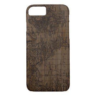 Vintage Wood World Map Phone Case