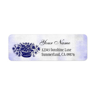 Vintage Woodcut Blue Flowers Custom Address Label