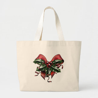 Vintage Woodcut Christmas Holly Bow Tote Bags