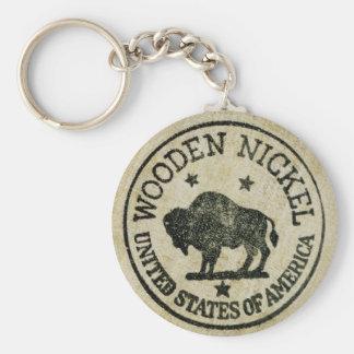 Vintage Wooden Nickel Key Ring