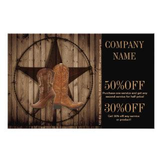 vintage woodgrain cowboy boots western country 14 cm x 21.5 cm flyer