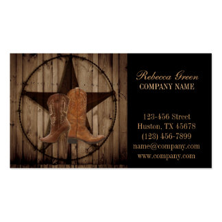 vintage woodgrain cowboy boots western country Double-Sided standard business cards (Pack of 100)