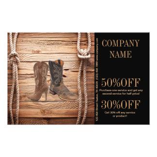 vintage woodgrain cowboy boots western fashion 14 cm x 21.5 cm flyer