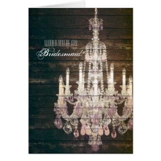 vintage woodgrain purple chandelier bridesmaid note card