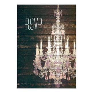 vintage woodgrain purple chandelier wedding RSVP 9 Cm X 13 Cm Invitation Card