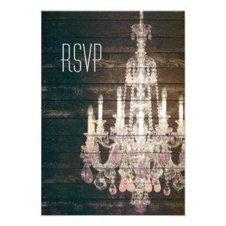vintage woodgrain purple chandelier wedding RSVP Custom Invite