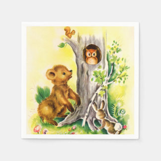 Vintage Woodland animals kids party napkins Disposable Serviette