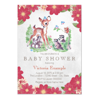 Vintage Woodland Baby Shower 13 Cm X 18 Cm Invitation Card