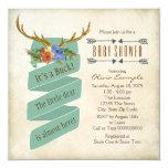 Vintage Woodland Deer Antler Baby Shower 13 Cm X 13 Cm Square Invitation Card