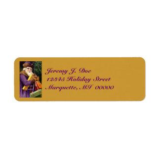 Vintage Woodland Purple Santa W/ Gifts Labels