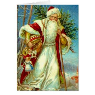 Vintage Woodland Santa Christmas Holiday Card