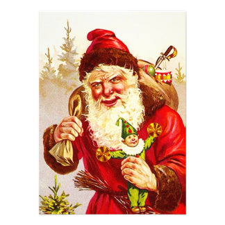 Vintage Woodland Santa Delivering Toys Doll Gifts Custom Announcements