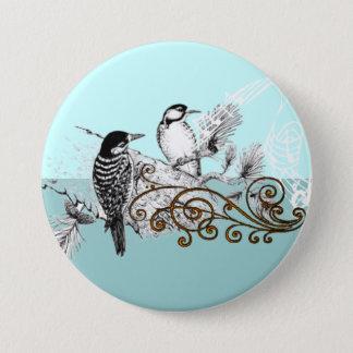 Vintage Woodpecker Wedding Love Birds 7.5 Cm Round Badge