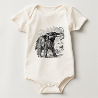 Vintage Woolly Mammoth Personalized Extinct Animal Baby Bodysuit