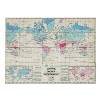 Vintage World Climate Map (1870) Poster