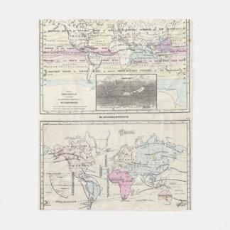 Vintage World Climate & Vegetation Map (1861) Fleece Blanket