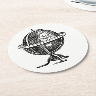 Vintage World Globe Lithograph Drawing BW Round Paper Coaster