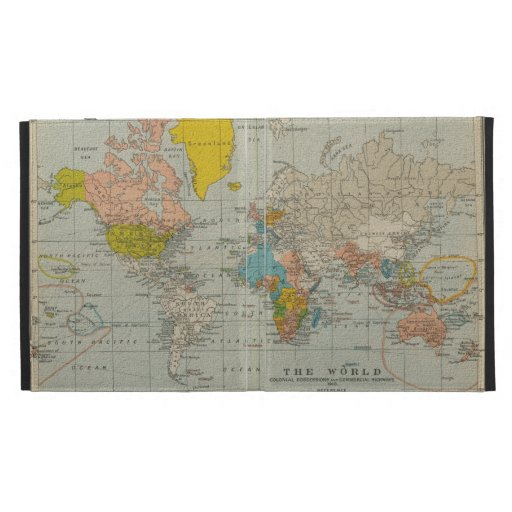Vintage World Map 1910 iPad Folio Covers