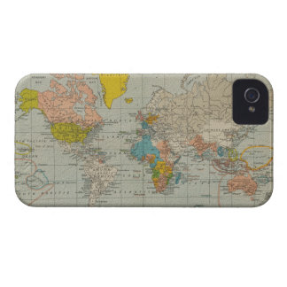 Vintage World Map 1910 iPhone 4 Cases
