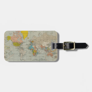 Vintage World Map 1910 Luggage Tag