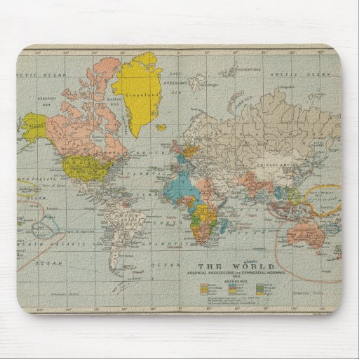 Vintage World Map 1910 Mousepad