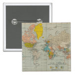 Vintage World Map 1910 Pinback Buttons