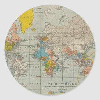 Vintage World Map 1910 Round Sticker