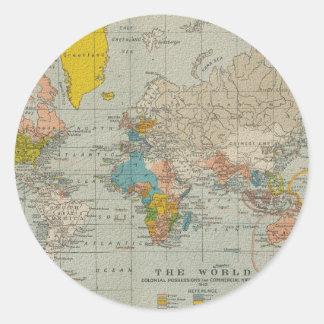 Vintage World Map 1910 Round Sticker