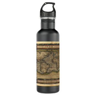 Vintage World Map 710 Ml Water Bottle