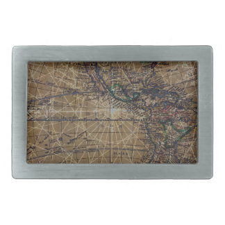 Vintage World Map Abstract Design Belt Buckle