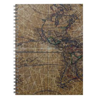 Vintage World Map Abstract Design Notebook