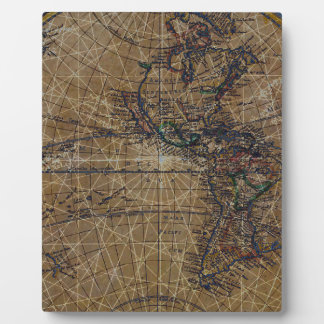 Vintage World Map Abstract Design Plaque