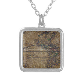 Vintage World Map Abstract Design Silver Plated Necklace