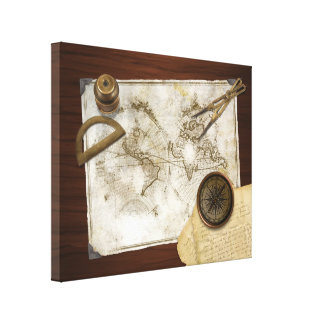 Vintage World Map And Tools Gallery Wrap Canvas