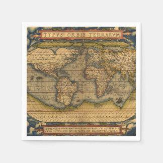 Vintage World Map Antique Travel Disposable Serviette