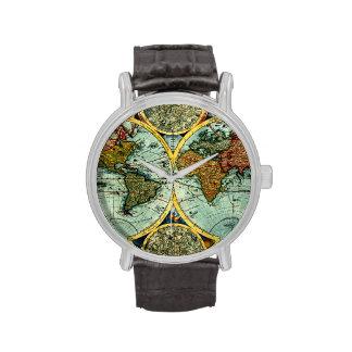 Vintage World Map Antique Vacation Travel Trip Art Wrist Watches