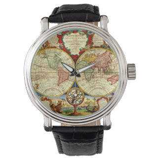 Vintage World Map Antique Vacation Travel Trip Art Wristwatch