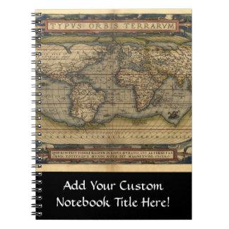 Vintage World Map Atlas Historical Design Notebooks