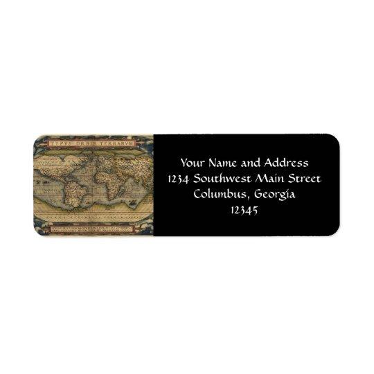 Vintage World Map Atlas Historical Design Return Address Label