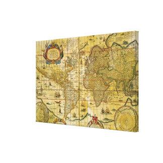 Vintage World Map Stretched Canvas Prints