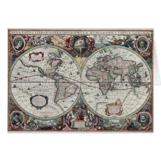 Vintage World Map Card