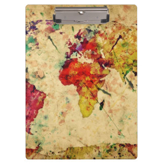 Vintage world map clipboard