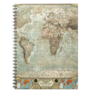 Vintage World Map Customizable Product Notebooks