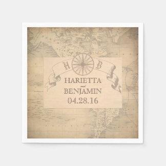 Vintage World Map Destination Wedding Disposable Napkin
