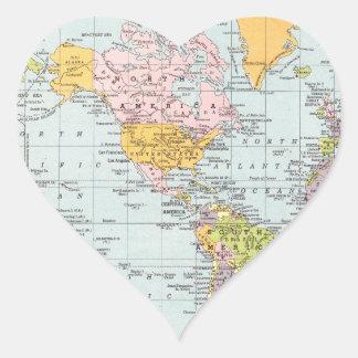 Vintage World Map Heart Sticker