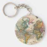 Vintage World Map Key Chain