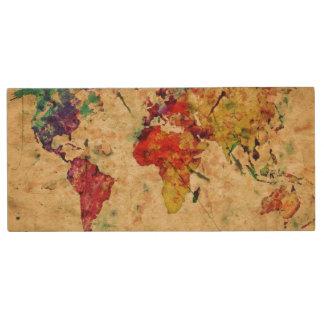 Vintage world map wood USB 2.0 flash drive