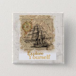 vintage world map motivational quote 15 cm square badge